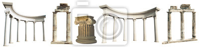 Naklejka Kolekcja różnych kolumn antycznych greckich na białym tle