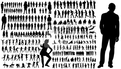 Naklejka Kolekcja sylwetki ludzi