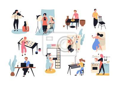 Naklejka Kolekcja sztuki męskiej i żeńskiej, rękodzieła i kreatywnych pracowników lub profesjonalistów. Set ludzie różnorodny zajęcie odizolowywający na białym tle. Ilustracja wektorowa w stylu cartoon płaski.