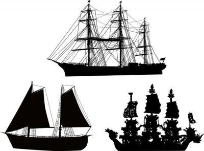 Naklejka Kolekcja trzy czarne na białym łodzie