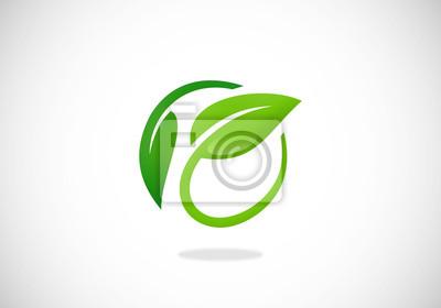 Naklejka koło liść natura ekologia logo wektor
