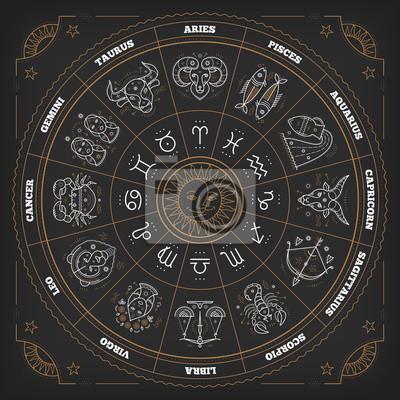 Naklejka koło zodiaku z objawami horoskop.