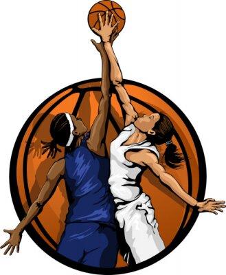 Naklejka Kolor Kobiety Koszykówka Jump Ball