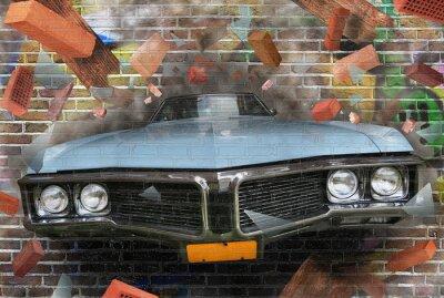 Naklejka Kolor tła ulicy graffiti na ścianie z cegły