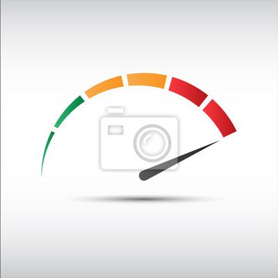 Naklejka Kolor wektora obrotomierz, prędkościomierz ikona, symbol pomiaru wydajności