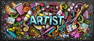 Naklejka Kolorowa ilustracja dostawy artysty. Doodles do sztuk wizualnych. Malowanie i rysowanie tła sztuki.