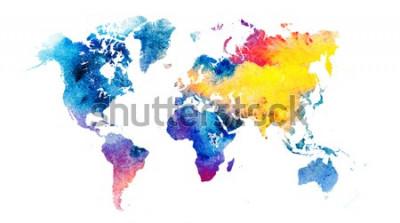 Naklejka Kolorowa mapa świata akwarela.