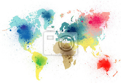 Naklejka kolorowa mapa świata z odpryskami farby