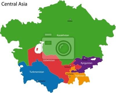 Naklejka Kolorowa Mapa Z Państwami Azji środkowej I Stolic Na Wymiar
