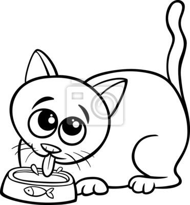 Naklejka Kolorowanka Kot Pije Mleko Strona Na Wymiar Czarny