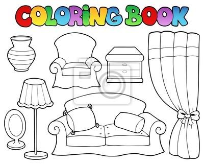 Naklejka Kolorowanka różne meble 1 na wymiar • sztuka ... Раскраска Тумбочка