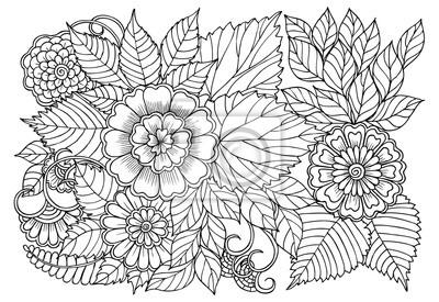 Naklejka Kolorowanka w czarno-biały wzór dla dorosłych. Może być używany do drukowania, kolorowania i projektowania kart