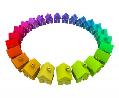 Naklejka Kolorowe Domy Domy Pierścień Koło Neighborhood Community Action
