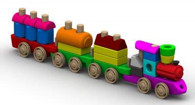 Naklejka Kolorowe drewniane zabawki pociągu na białej powierzchni. Odosobniony