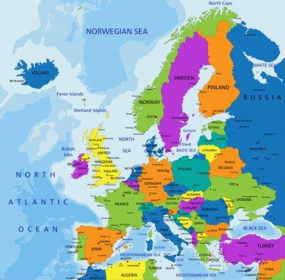 Naklejka Kolorowe Europa mapa polityczna z wyraźnie oznakowanych, oddzielnych warstwach. Ilustracji wektorowych.