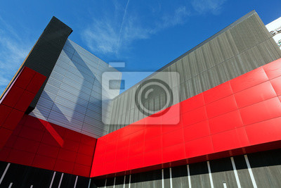 kolorowe fasady aluminiowej na dużym centrum handlowym