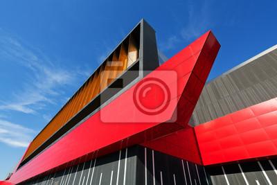 Naklejka kolorowe fasady aluminiowej na dużym centrum handlowym