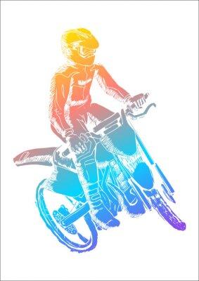 Naklejka Kolorowe ilustracją człowiek jazdy motocross