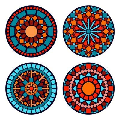 Naklejka Kolorowe mandale etniczne koło kwiatowy zestaw w kolorze niebieskim czerwony pomarańczowy