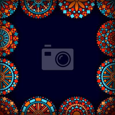53b7d638876b9d Kolorowe mandale koło kwiat rama w kolorze niebieskim, czerwonym i  pomarańczowym wektor