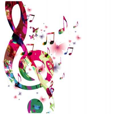 Naklejka Kolorowe nuty z motyli izolowanych ilustracji wektorowych. Muzyka tła dla plakatu, broszury, ulotki, baner, koncert, festiwal muzyczny