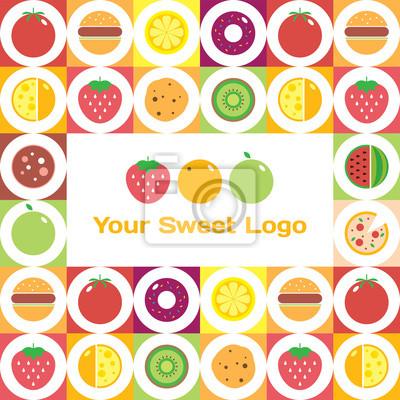 066745531cf7cb Naklejka Kolorowe okrągłe owoce, warzywa, naczynia i zestaw ikon żywności  lub kawiarni na rynku