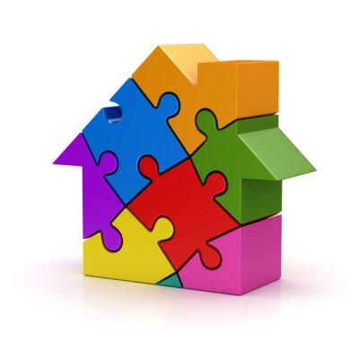 Naklejka Kolorowe puzzle dom
