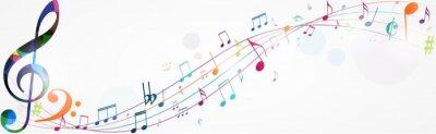 Naklejka Kolorowe tło muzyczne notatek