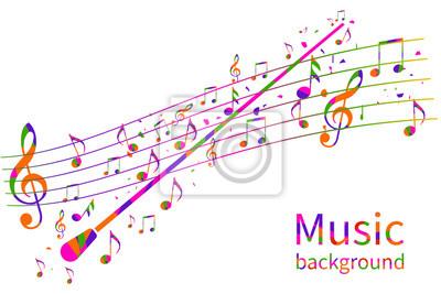 Naklejka Kolorowe tło muzyczne. Streszczenie dyrygent orkiestra. Kij dyrygenta. Szablon nut. Ilustracja wektorowa Płaska konstrukcja. Kompozytor Maestro.