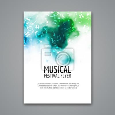 Naklejka Kolorowe wektora muzyka szablon koncert festiwalowy ulotki. Musical ulotki projekt plakatu z nutami