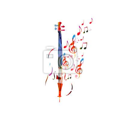 Naklejka Kolorowe wiolonczelę z nut. Muzyka w tle. Instrument muzyczny plakat z nut. Cello konstrukcja z g-Klucz. Klucz wiolinowy i nuty symbole muzyczne z wiolonczelę.