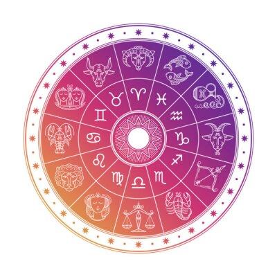 Naklejka Kolorowy astrologia okrąg projekt z horoskopów znakami odizolowywającymi na białym tle