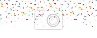 Naklejka Kolorowy konfetti granicy rama powtórzyć wzór. Świetne na przyjęcie urodzinowe lub zaproszenie na świętowanie uroczystości. Wzór powierzchni.