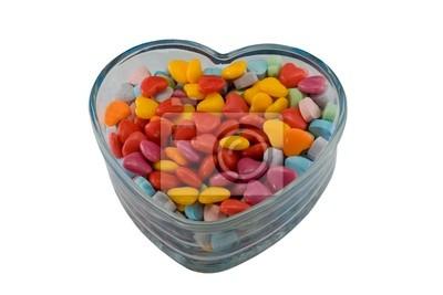 Naklejka kolorowych valentine serca na białym tle