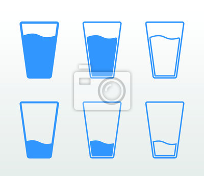 Naklejka Komplet płaskich i pustych szklanek wody (pojedynczy kolor, kontur i wypełnienie)