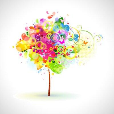 Naklejka kompozycja z kolorowych drzewa lato