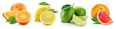 Naklejka Kompozycje owoców z liśćmi na białym tle. Ora