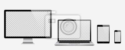 Naklejka Komputer, laptop, tablet, zestaw do telefonu. Ilustracji wektorowych