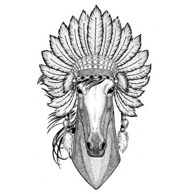 Naklejka Koń, hoss, rycerz, steed, courser Dzikie zwierzę na sobie indiat kapelusz z piórami Boho styl vintage ilustracja grawerowanie Obraz do tatuaż, logo, znaczek, godło, plakat