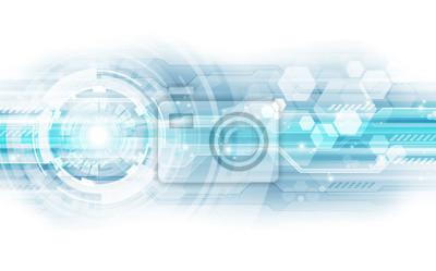 Naklejka Koncepcja abstrakcyjna niebieskim tle technologii. ilustracji tła