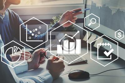 Naklejka koncepcja analizy biznesowej, wykresy finansowe do analizy zysków i wyników finansowych firmy