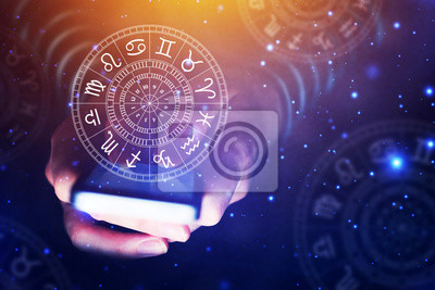 Naklejka Koncepcja aplikacji smartfona Astrologia