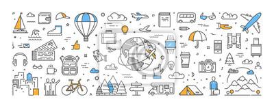 Naklejka Koncepcja linii wektorowej dla podróży i turystyki