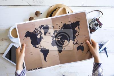 Naklejka Koncepcja planowania podróży na mapie