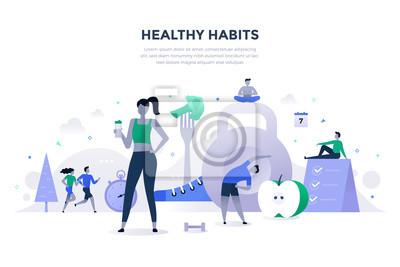 Naklejka Koncepcja płaski zdrowe nawyki