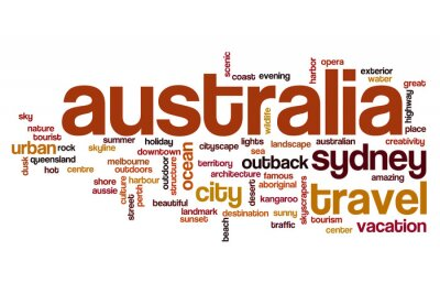 Naklejka Koncepcja wordcloud Australii