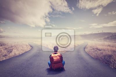 Naklejka Koncepcja wyboru ze skrzyżowaniami dzielącymi się na dwa sposoby