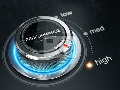 Naklejka Koncepcja wysokiej wydajności - Przycisk kontroli poziomu wydajności na wysokiej pozycji. 3d rendering