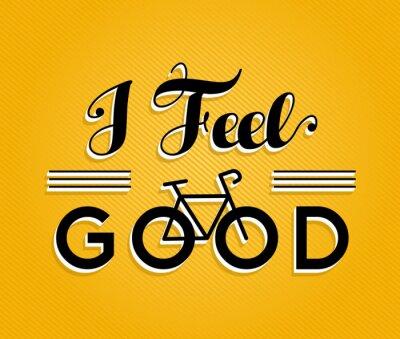 Naklejka koncepcji rower plakatu retro rower czuje się dobrze