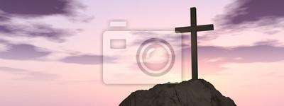 Naklejka Koncepcyjne symbol religii krzyż kształt słońca niebo nad sztandarem